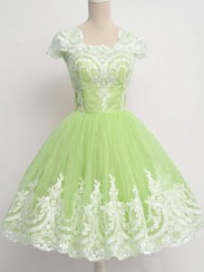 Inexpensive Yellow Green Tulle Zipper Dama Dress for Quinceanera Cap Sleeves Knee Length Lace