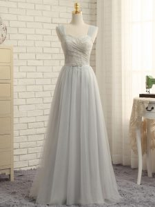 Superior Tulle Sleeveless Floor Length Quinceanera Dama Dress Sweep Train and Lace