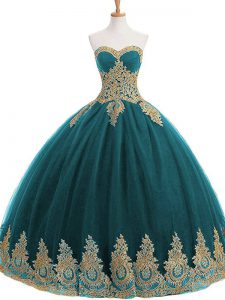 Tulle Sweetheart Sleeveless Lace Up Appliques Ball Gown Prom Dress in Teal