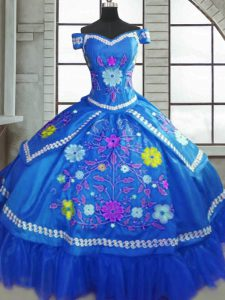 Suitable Taffeta Sweetheart Short Sleeves Lace Up Beading and Embroidery Quinceanera Gowns in Blue