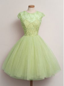 Yellow Green Tulle Lace Up Vestidos de Damas Cap Sleeves Knee Length Lace