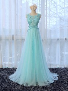 Shining Apple Green Quinceanera Court of Honor Dress Scoop Sleeveless Brush Train Zipper