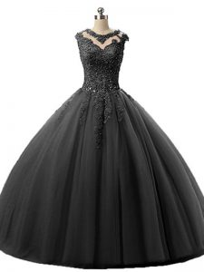 Tulle Sleeveless Floor Length Quinceanera Gowns and Beading and Lace