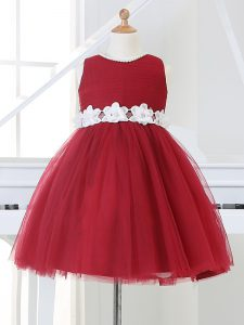 Gorgeous Wine Red Ball Gowns Appliques Little Girl Pageant Gowns Zipper Tulle Sleeveless Knee Length