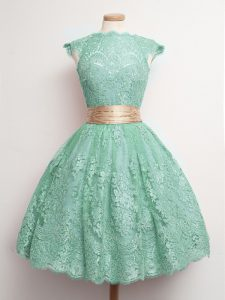 Pretty Ball Gowns Court Dresses for Sweet 16 Turquoise Square Lace Cap Sleeves Knee Length Lace Up