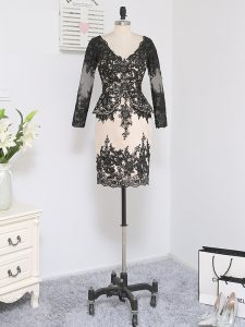 Mini Length Black Mother Dresses Lace Long Sleeves Lace and Appliques