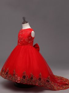 Latest High Low Zipper Little Girl Pageant Gowns Red for Wedding Party with Lace and Bowknot
