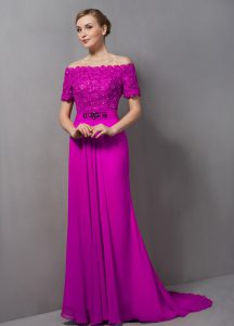 Most Popular Fuchsia Short Sleeves Lace Zipper Mother Dresses