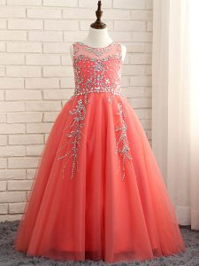 Best A-line Little Girls Pageant Dress Wholesale Watermelon Red Scoop Tulle Sleeveless Floor Length Zipper