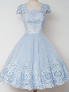 Square Cap Sleeves Quinceanera Court Dresses Knee Length Lace Light Blue Tulle