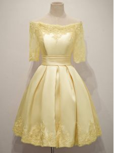 Captivating Yellow Lace Up Off The Shoulder Lace Court Dresses for Sweet 16 Taffeta Half Sleeves