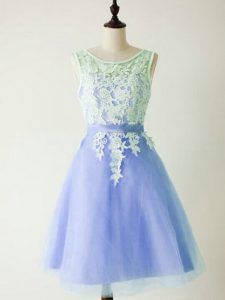 Knee Length A-line Sleeveless Light Blue Quinceanera Court Dresses Lace Up