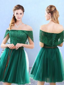 Stunning Cap Sleeves Lace Lace Up Quinceanera Dama Dress