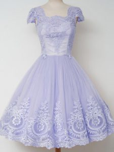 On Sale Lavender Square Zipper Lace Quinceanera Court of Honor Dress Cap Sleeves