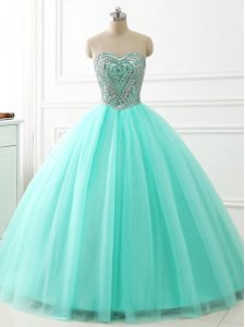 Decent Apple Green Lace Up 15 Quinceanera Dress Beading Sleeveless Floor Length