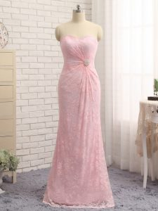 Baby Pink Column/Sheath Lace Sweetheart Sleeveless Beading and Lace and Appliques Floor Length Zipper Mother of Groom Dress