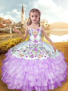 Embroidery and Ruffled Layers Kids Formal Wear Lilac Lace Up Sleeveless Floor Length