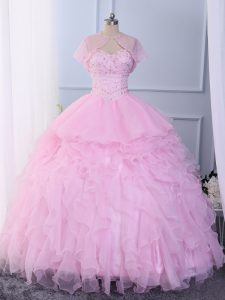 Pink Sweetheart Neckline Beading and Ruffles 15 Quinceanera Dress Sleeveless Lace Up