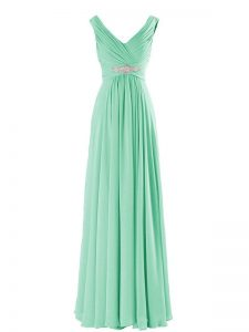 Traditional Sleeveless Floor Length Beading Zipper Vestidos de Damas with Apple Green