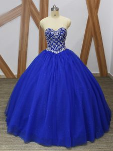 Decent Sweetheart Sleeveless Sweet 16 Quinceanera Dress Floor Length Beading Royal Blue Tulle