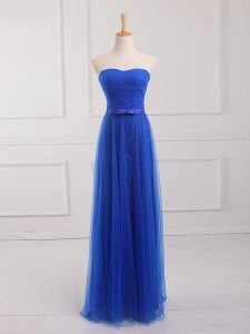 Royal Blue Lace Up Damas Dress Belt Sleeveless Floor Length
