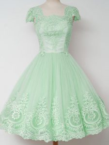 Flare Knee Length Zipper Court Dresses for Sweet 16 Apple Green for Prom and Party and Wedding Party with Lace