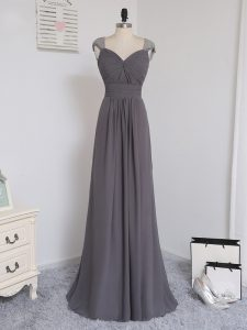 Custom Made Zipper Quinceanera Dama Dress Grey for Prom and Party and Wedding Party with Lace and Ruching Brush Train
