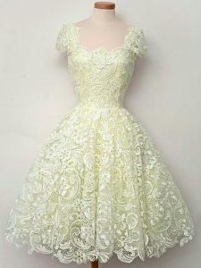 Yellow Lace Up Dama Dress for Quinceanera Lace Cap Sleeves Knee Length