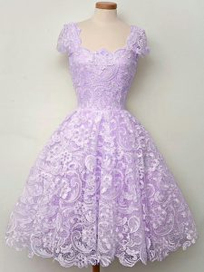 Lavender Lace Up Quinceanera Court Dresses Lace Cap Sleeves Knee Length