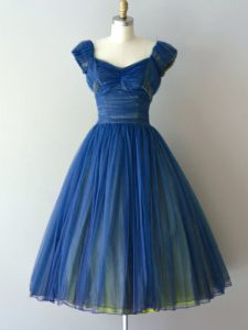 Glorious Blue Cap Sleeves Chiffon and Tulle Lace Up Quinceanera Court Dresses for Prom and Party and Military Ball and Sweet 16