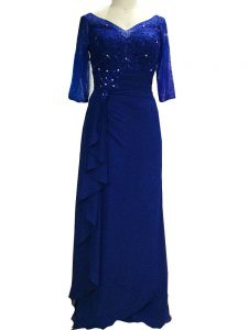 Discount Royal Blue Mother of the Bride Dress Prom and Party with Beading V-neck Sleeveless Zipper