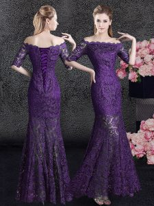 Graceful Mermaid Eggplant Purple Off The Shoulder Neckline Lace Mother of the Bride Dress Half Sleeves Lace Up