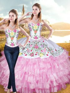 Fantastic Rose Pink Sweetheart Lace Up Embroidery and Ruffled Layers Quinceanera Gowns Sleeveless