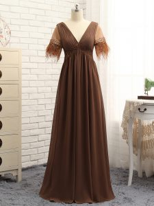 Perfect Brown Sleeveless Chiffon Zipper Mother of Groom Dress for Prom and Sweet 16 and Beach