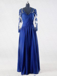 Long Sleeves Chiffon Floor Length Zipper Mother Dresses in Blue with Lace and Appliques