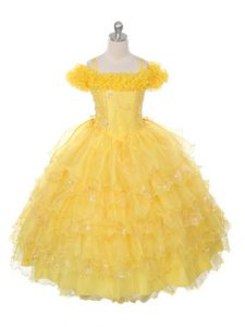 Admirable Yellow Ball Gowns Organza Off The Shoulder Sleeveless Ruffles and Ruffled Layers Floor Length Lace Up Child Pageant Dress