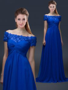 High End Floor Length Empire Short Sleeves Blue Mother of Bride Dresses Lace Up
