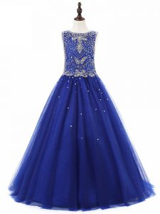 Royal Blue Tulle Lace Up Little Girl Pageant Gowns Sleeveless Floor Length Beading