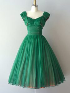 V-neck Cap Sleeves Lace Up Vestidos de Damas Green Chiffon