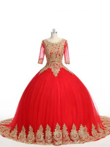 Fantastic Ball Gowns Half Sleeves Red Ball Gown Prom Dress Brush Train Zipper