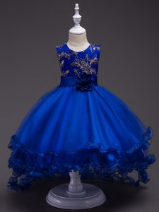 Royal Blue Ball Gowns Tulle Scoop Sleeveless Appliques and Hand Made Flower High Low Zipper Girls Pageant Dresses
