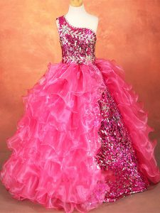 Floor Length Hot Pink Little Girls Pageant Dress Organza Sleeveless Beading and Ruffles and Sequins