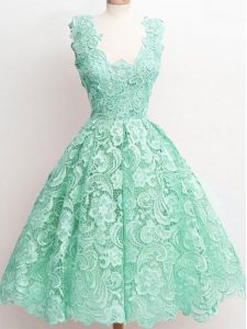 Extravagant A-line Court Dresses for Sweet 16 Apple Green Straps Lace Sleeveless Knee Length Zipper