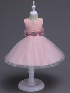 Affordable Tulle Scoop Sleeveless Zipper Lace and Bowknot Little Girls Pageant Dress in Baby Pink