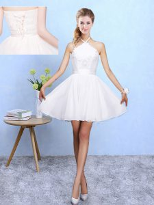 Decent White Lace Up Damas Dress Lace and Appliques Sleeveless Mini Length