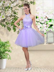 New Style Knee Length Lilac Court Dresses for Sweet 16 Halter Top Sleeveless Lace Up