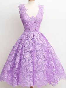 Sleeveless Zipper Knee Length Lace Quinceanera Court of Honor Dress