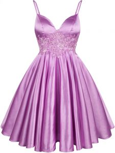 Knee Length Lilac Damas Dress Elastic Woven Satin Sleeveless Lace