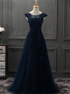 Spectacular Navy Blue Scoop Neckline Beading and Lace and Appliques Mother of Groom Dress Sleeveless Lace Up