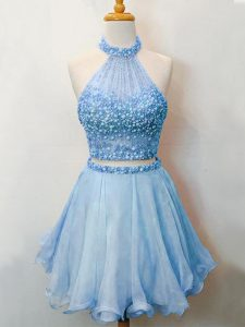 Glorious Beading Quinceanera Dama Dress Blue Lace Up Sleeveless Knee Length